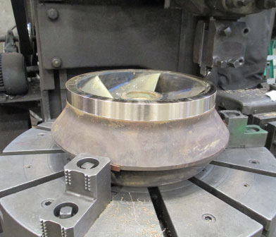 Vertical turbine pump impeller wear ring machining to tolerance