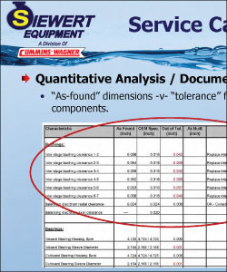 Example of repair report page with as-found dimensions versus tolerance for critical clearances