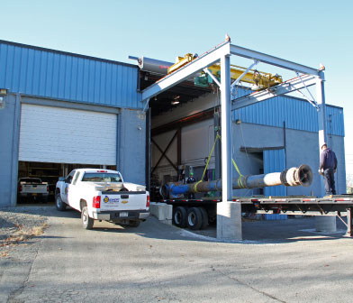 Siewert Equipment Service Center in Troy NY unloading Flowserve vertical turbine pump from Cornell University