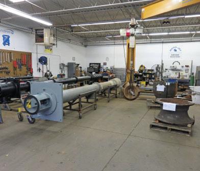 Vertical Turbine Pump being repaired in Siewert Service Center in Rochester