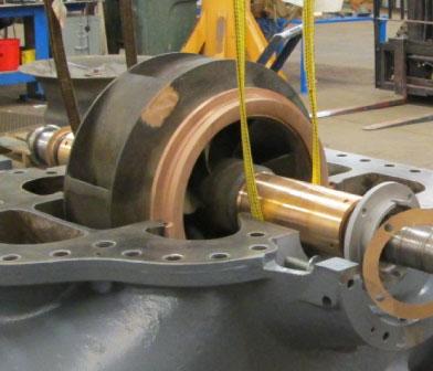 Worthington horizontal split-case centrifugal pump being repaired in Siewert shop