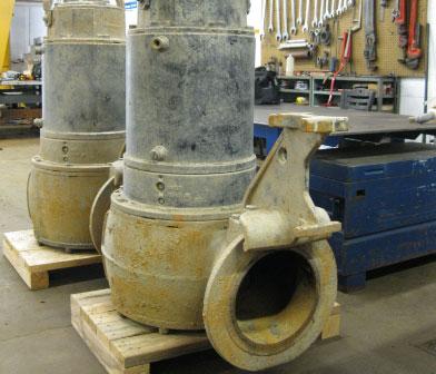 Flygt submersible pumps in Siewert Equipment pump repair shop