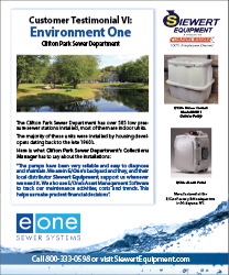 Environment One customer testimonial eone indoor low pressure sewer stations Clifton Park, NY with Siewert Equipment.