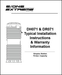 E/One grinder pump DH071 & DR071 Installation Instructions siewert equipment