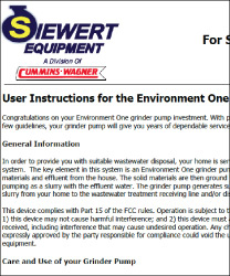 User Instructions for the Environment One grinder pump