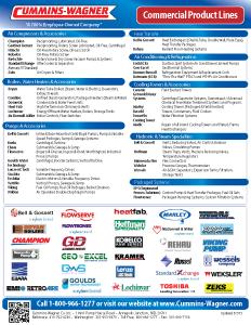 Cummins-Wagner Commercial Equipment line card, MD, DC, DE, Northern VA