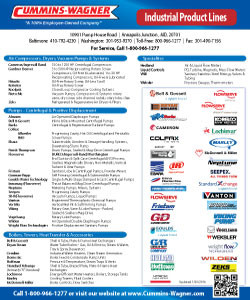 Cummins-Wagner MD Industrial Line Card product lines