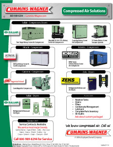 Air compressors and dryer products offered by Cummins-Wagner Pennsylvania