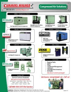 Air compressors and dryer products offered by Cummins-Wagner Virginia
