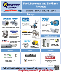 Siewert Equipment sanitary line card, NY food, beverage, and biopharm products pumps, mixers, tanks