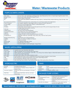 Siewert Equipment NY municipal and process equipment line card, eone, brentwood, flowserve, hydro-dyne, gorman rupp