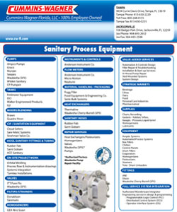 Cummins-Wagner Florida Sanitary Process Equipment line card product lines