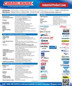 Cummins-Wagner PA Pennsylvania industrial equipment line card air compressors, pumps, heat transfer, service and repair