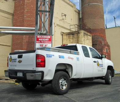 Siewert Equipment service truck at Potsdam Specialty Paper Mill Industrial Plant