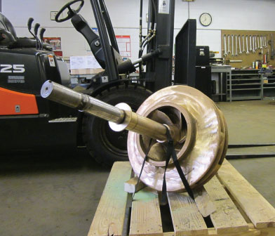 Impeller and shaft in Siewert Equipment pump repair shop