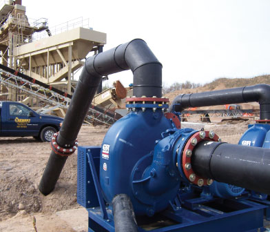 Gorman Rupp self-priming pumps and Siewert truck at Syracuse Sand and Gravel