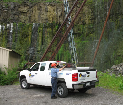 Service truck and pump mechanic at Dolomite quarry site in Gates NY