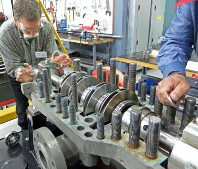 Siewert pump mechanic working on a high-pressure multi-stage split-case centrifugal pump