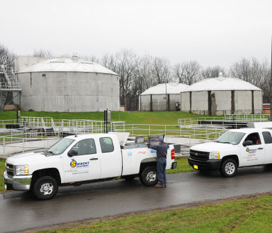 Siewert Equipment service trucks and workers at Town of Farmington Wastewater Plant