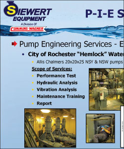 Pump engineering services provided at Rochester's Hemlock water plant.