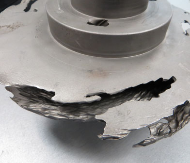Centrifugal pump impeller being evaluated for failure analysis