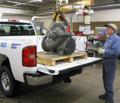 Siewert pump mechanic unloading Flowserve split case pump