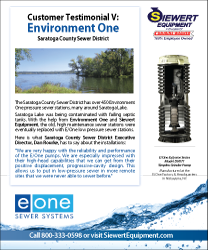 Environment One customer testimonial Saratoga County Sewer District with Siewert Equipment eone simplex grinders pumps