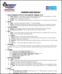Siewert Equipment EOne Installation quick reference guide
