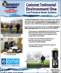 Environment One customer testimonial for Jerusalem, NY with Siewert Equipment, eone low pressure sewer systems near Keuka Lake.