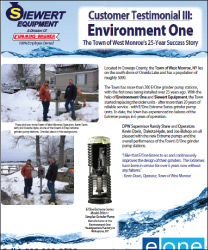 EOne customer testimonial Siewert Equipment town of West Monroe, Environment One Extreme Series grinder pump