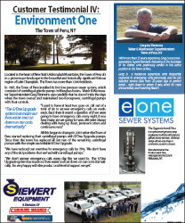 EOne customer testimonial town of Peru, NY for Environment One Upgrade sewer system with Siewert Equipment