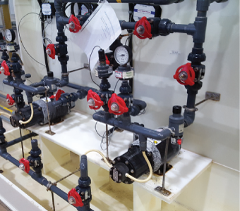 Non-metallic Eclipse E25 pumps into the Ferric Chloride station in treatment plant