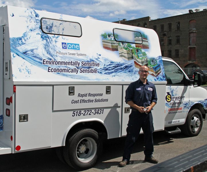 Siewert Equipment E/One service van with a service technician.