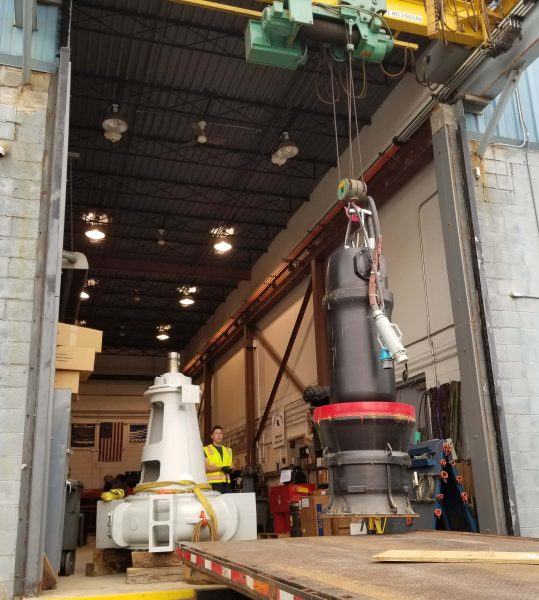 Large Grundfos submersible axial flow pumps arriving at our Troy Service Center for evaluation and repair