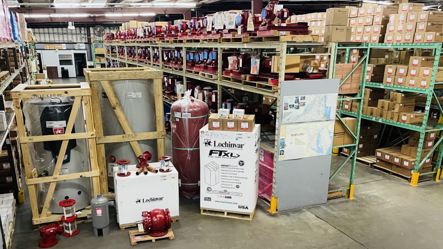 Cummins-Wagner Maryland warehouse - stocked with Lochinvar and Bell & Gossett products for heating and hot water
