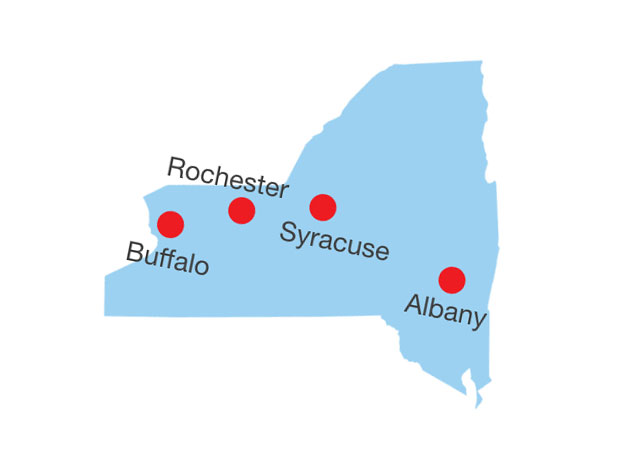 Siewert Equipment territory map, covering all Upstate New York, with offices in Rochester, Buffalo, Syracuse, and Albany.