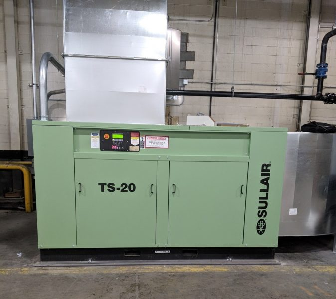 200hp 2-stage tandem air end, variable capacity control air compressor in for local printing company in Pennsylvania.