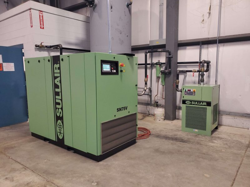 Sullair compressor and dryer for food plant packaging and process needs