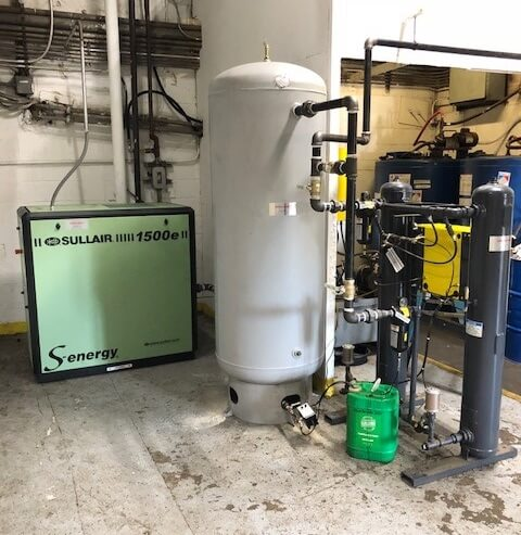 Old reciprocating compressor replaced with a Sullair,rotary screw, air receiver, and desiccant dryer in Virginia.