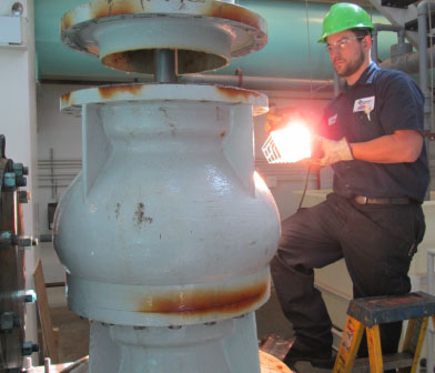 Vertical Turbine pump inspection at cooling water plant on Cayuga Lake