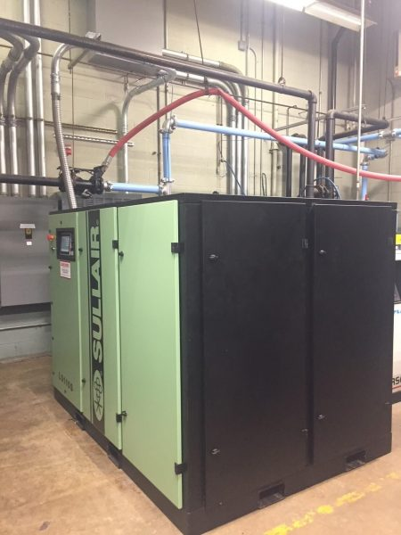 Sullair LS1109S, 150 HP air compressor with ZEKS 700HSF Dryer, Air Receiver and a Cummins-Wagner Demand Expander Valve for local electronics facility.