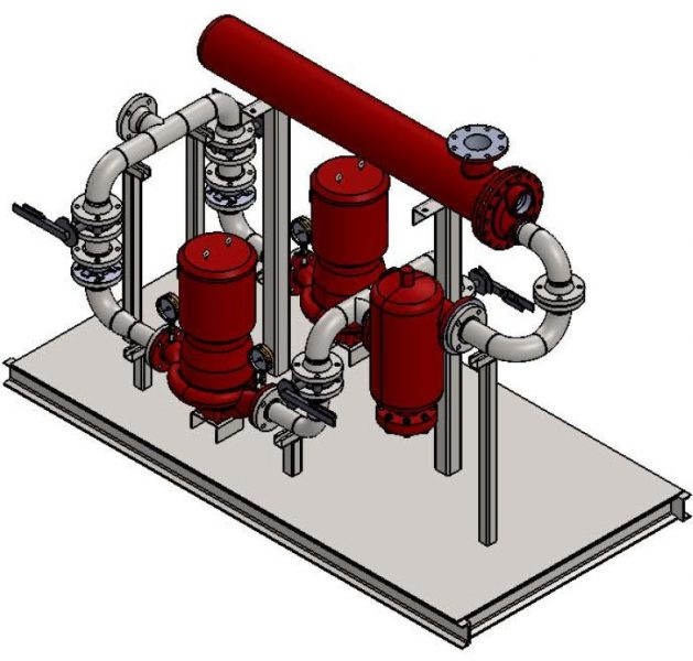 3D drawing model of Standard Heat Transfer System with welded piping and Bell & Gossett Components.
