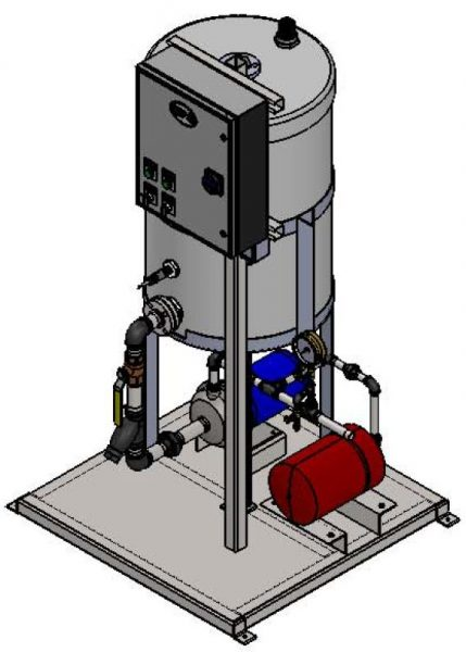 3D drawing model of GMU Glycol Unit with all piping and controls needed for automatic operation.