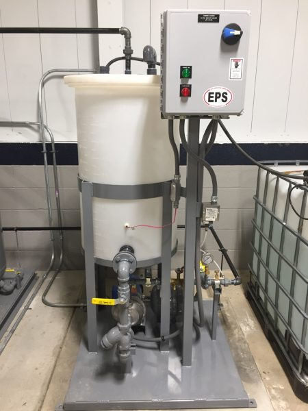 Glycol Make-Up unit installed in customer's facility production area feeding pressurized glycol mixture to closed process.