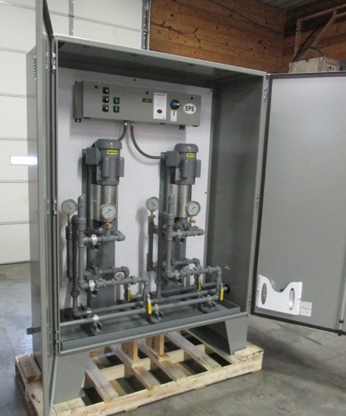 Automatic Viking 432 Series Fuel Oil Pumps in a weather proof cabinet enclosure with access doors
