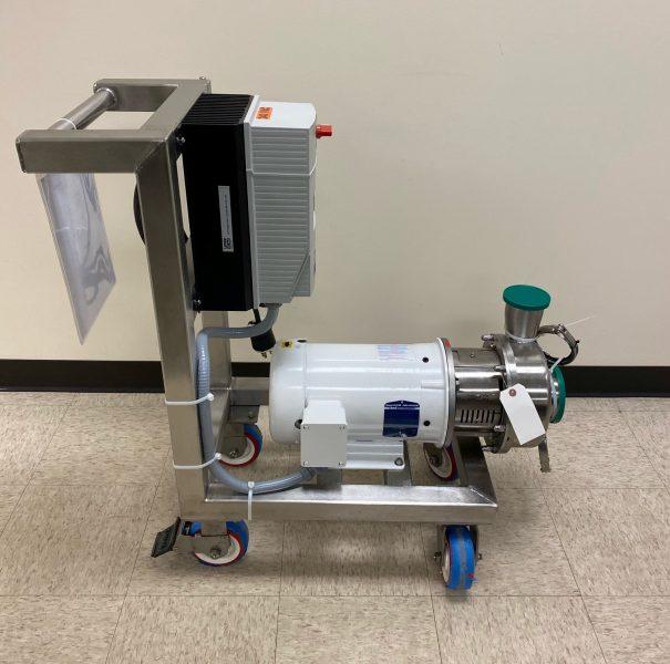 Sanitary CIP pump cart with Alfa Laval LKH pump for food manufacturing customer.