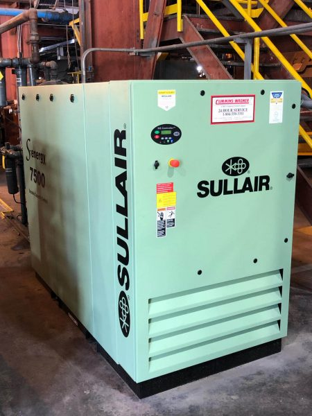 100 HP Sullair air compressor with spiral valve.