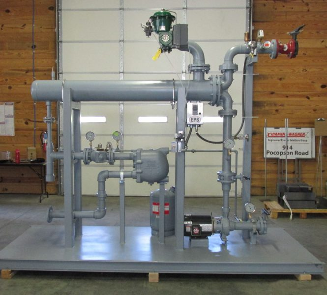 Shell and Tube Heat Exchanger with steam control vale and hot water production on compact base.