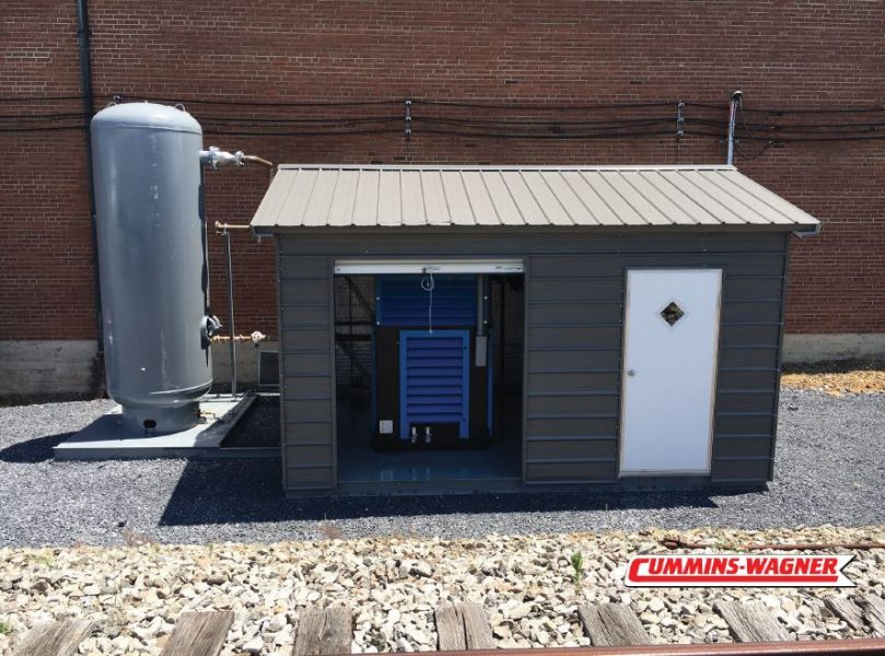 100HP Kobelco Compressor and Zeks air Dryer in Portable Enclosure Outside