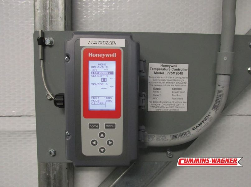 Honeywell Temperature Controller for room ventilation control with digital display and push button set point.